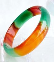 Оптовая подлинная азия красный / зеленый натуральный браслет браслетов нефрита внутри 64 мм-68 мм