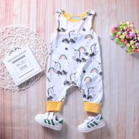 Summer Baby Boy Girl Toddler Floral Unicorn Jumpsuit Sleevel...