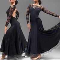 Adult / Girl Ballroom Dance Kleid Damen Modern Waltz Tango Standard Competition Practice Dance Kleid Black Lace Stitiching Fishbone Kleid