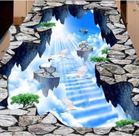 self adhesive 3d flooring wallpaper custom 3d floor Sky crack for living room bedroom pvc vinyl floor photo wall mural