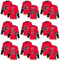 Chandail de hockey des Flames de Calgary, saison 2018 personnalisé 12 Jarome Iginla 13 Johnny Gaudreau 68 ans Jaromir Jagr 23 ans sean monahan 5 Mark Giordano Bennett