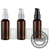 50ml x50 boş kahverengi krem pompası plastik kaplar, küçük kozmetik losyon şişesi, kozmetik pompa ambalaj, seyahat kremi kavanoz
