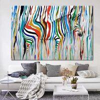 В рамке Pure Handpainted Современный Abctract Animal Art Картина Маслом Красочные Радуга Зебра, на Высокое Качество Холст Для Домашнего Декора Multi размеры