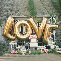 16  40 inch gold silver LOVE aluminum foil balloons large he...