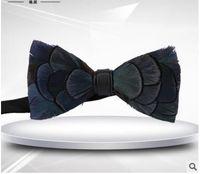 El nuevo pelo natural del pájaro de la pluma corbata el novio de la boda pajaritas dos estilos puede elegir