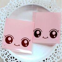 7 * 7cm zelfklevend zegel 800 stks / partij roze grote ogen pop cookie pakket event pouches biscuit snack dessert gebakken snoep pak tas