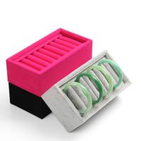 Hohe Qualität Samt-10-Zellen-Armband Schmuck-Anzeigen-Halter Ständer Rack-Armbänder Boxen Zubehör Shelf