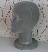 Freeshipping wholesale weiblicher Beflockungs-Schaum-kahler männlicher Mannequin-Kopf-Perücken-Hut-Glas-Kopfhörer-Anzeigen-Modell Standgrau 1PC B613
