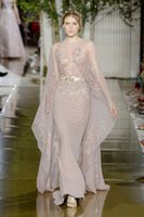 Zuhair Murad Mermaid Örgün Elbiseler Akşam Giyim ile Cape Sheer Bateau Boyun Boyun Payetli Abiye giyim Sweep Tren Tül Boncuklu Balo Elbise