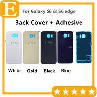 Pil Kapı Arka Kapak Cam Konut + Yapıştırıcı Sticker Samsung Galaxy S6 G920 G920F G920T vs S6 kenar G925 G925F G925T 50 adet / grup