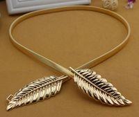 Barato Elie Saab Faixa de ouro para casamento linda folhas cintos para mulheres acessórios nupciais em estoque