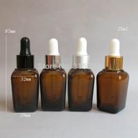 20 / lote 25ml Quadrado Garrafa de óleo essencial de vidro âmbar com conta-gotas, 25cc âmbar Glass Glassw Garrafa