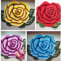 Rose flower shaped rug at 4 color Bedroom rose bath mat Carp...