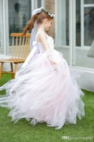 Blush Pink Princess Flower Girls Dresses Beaded Appliques Gi...