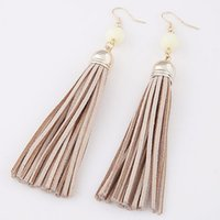 Boho Style Leather Long Tassel Earrings Nature Beads Gold Ea...