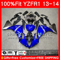 حقن الجسم لياماها YZF 1000 YZF R 1 YZF-1000 YZF-R1 13 14 86HM1 YZF1000 YZFR1 13 14 YZF R1 2013 2014 Fairing kit 100٪ Fit Stock blue