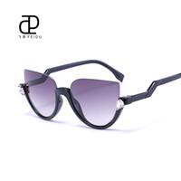 Wholesale-FEIDU 2016 Cat Eye Sunglasses Women Brand Half Frame Coating Mirror Sun glasses For Women Feminino