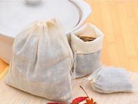Venda quente por atacado Portátil 100 pcs 13x16 cm Sacos De Cordão De Algodão Reutilizável Musselina Embalagem Banho Sabonete Ervas Filtro Sacos De Chá