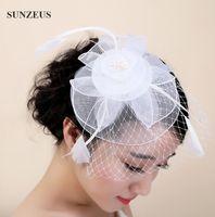 2017 nuovo fiore da sposa copricapo di piume in tulle cappelli fascinator moda cappello da sposa con velo accessori testa bianca