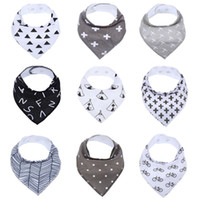 Wholesale- 9Pack 100% Cotton Baby Bandana Drool Bibs Infant Babador Soft Absorbent Teething and Dribble Bib with Adjustable Snaps for Baby