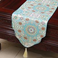 이 두꺼워 자카드 테이블 러너 중국 스타일의 고밀도 실크 브로케이드 럭셔리 사각형 테이블 천 표 패드 홈 인테리어 200x33 cm 식사