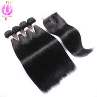 Top quality Peruvian Virgin Hair With Closure 4 Bundles Stra...