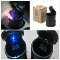 New High texture Posacenere per auto Posacenere per auto Ignifugo con luce LED 9.5x7cm Nero Accessori per sigarette portatili di alta qualità DHL