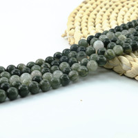 Gorgeous Natural Moss Jasper Gemstone Smooth Round Loose Beads 4 6 8 10mm 15 inch 1 Strand Per Set For Jewelry Making L0574#