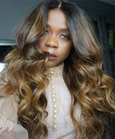 7A Brazilian Body Wave Ombre Full Lace Human Hair Wigs For B...
