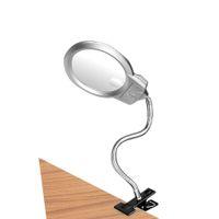 Lámparas de mesa Lámpara de escritorio Lámpara de lupa de lupa con clip Brazo flexible Blanco