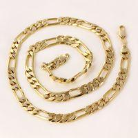 femmes ou hommes 24k Réel solide or GF figaro chaîne collier 8 mm liens 60 cm trottoir gratuit cadeau cas