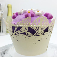 wedding favors shell Laser cut Lace Cream Cup Cake Wrapper C...