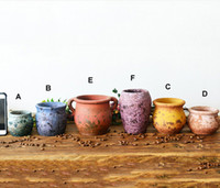6PCS- PACK Multi Color Chinese RetroStyle Clay Flower Pot for...