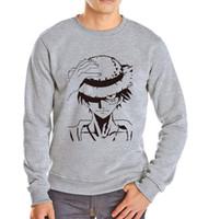 Toptan-Yeni Varış Baskı Tek Parça Luffy hoodies moda tişörtü 2016 yeni komik eşofman Pamuk uzun kollu o boyun erkekler kapşonlu elbise