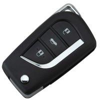 Garanterad 100% 4Button Modifierad ersättningsskal Folding Flip Remote Key Case FOB för Toyota Uncut Toy43 / Toy48 Blade Fri frakt