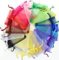 مختلط لون متعدد الألوان 9 * 7 سم الحقائب والمجوهرات الأورجانزا المخملية لأقراط قلادة سوار القرط أكياس ackage هدايا عيد الحب الملحقات