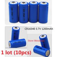 10 قطع 1 وحدة 16340 cr123a 3.7 فولت 1200 مللي أمبير بطارية ليثيوم أيون قابلة 3.7 فولت بطاريات ليثيوم أيون مجانية