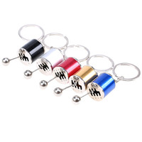 5 colori Car Auto Gear Shift Portachiavi Auto Fans Gear Shifter Stick Catena chiave Fob Cilindro modificato Turbo Wave Anello portachiavi