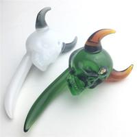 3 인치 미니 대 버 도구 해골 투우 유리 Dabble 왁 스 dab 도구와 녹색 흰색 다채로운 두꺼운 Pyrex 유리 Dabber 도구 흡연