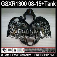 8gifts Per SUZUKI Hayabusa GSXR1300 08 15 GSXR-1300 14MY81 fiamme argentate GSXR 1300 GSX R1300 08 09 10 11 12 13 14 15 Carenatura nero lucido Kit