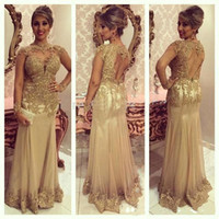 Sparkly Gold Formal Long Prom Evening Dresses Lace Appliques...