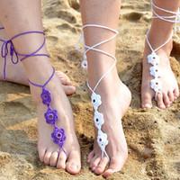 6 colores, tobilleras hechas a mano, flor de ganchillo, sandalias descalzas, tobilleras de playa, tobilleras, zapatos, adornos, tobillo, pulsera, regalo de San Valentín