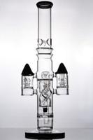물 담뱃대 16 인치 블랙 솔리드베이스 유리 봉이있는 슬릿 로켓 퍼크 튜브 워터 파이프 18mm 조인트