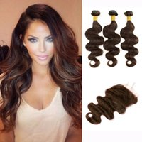 3 Bundles With Lace Closure Body Wave Dark Brown Color 2 Bra...