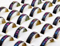 Großhandels50pcs / lot Art und Weise Wörter veränderbare Farben Mood Ringe Frauen / Männer Hotsale Temperaturänderung Emotion Gefühl Band-Ring