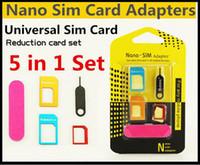 5in1 Metal Nano Sim Kart Adaptörü Mikro Yeni 5 in 1 Sim Kartları Adaptörler Tüm Smarttphone Için Çıkar Pin Pin Standart / Nano