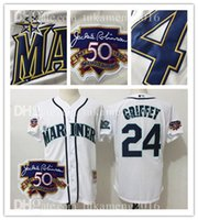 50 ans Logos 24 Ken Griffey Jr. Maillots de Baseball Seattle Mariners MLB 100% Stitched Mitchell Ness White Authentic Jersey