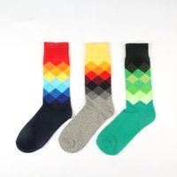Cotton Fashion Mens Socks Color Colorful Diamond Socks Man C...