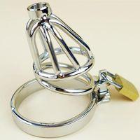 Cage de chasteté en acier inoxydable avec tube d'insertion urétral amovible et creux Bague anti-off barbée Vêtement de bondage SM Dispositif de cagoule de bondage FF927-2