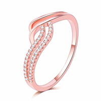 Antique jewelry wave Design 18K rose gold filled Simulated s...